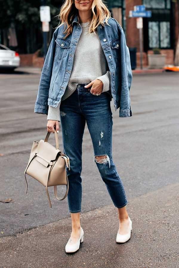 how to wear an oversized jean jacket in summer